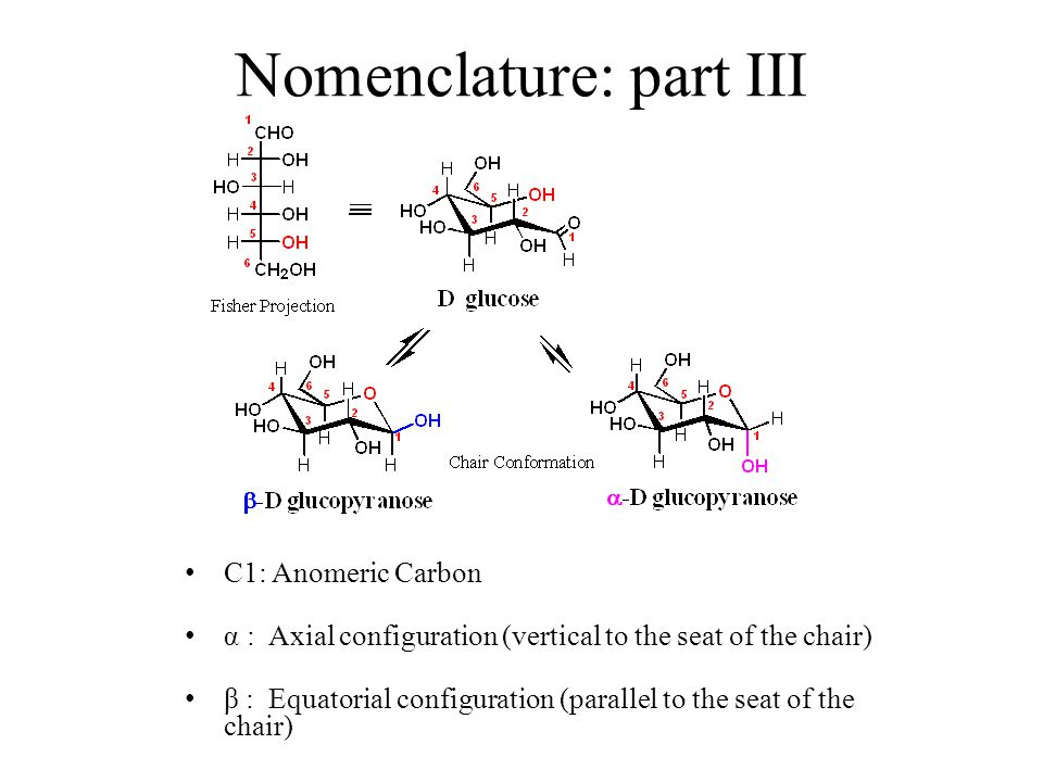 Nomenclature: part III C1: Anomeric Carbon α : Axial configuration (vertical to the seat of the chair) β : Equatorial configuration (parallel to the seat of the chair)