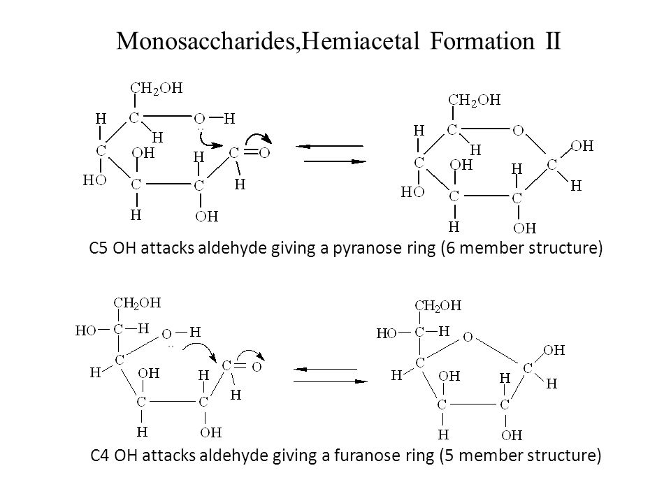 Monosaccharides,Hemiacetal Formation II C5 OH attacks aldehyde giving a pyranose ring (6 member structure) C4 OH attacks aldehyde giving a furanose ri