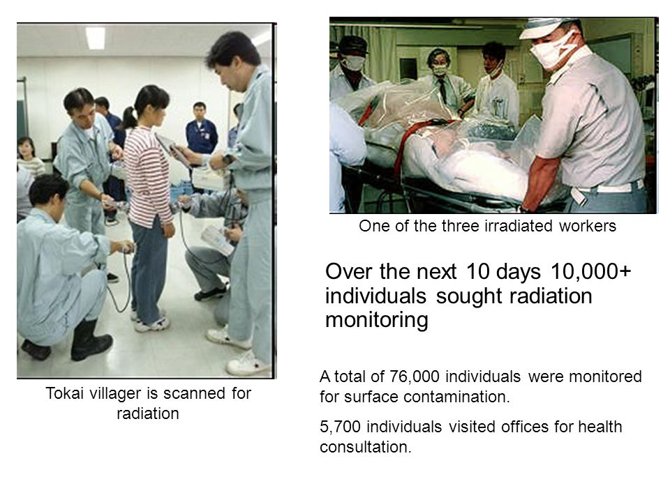 Tokai villager is scanned for radiation One of the three irradiated workers Over the next 10 days 10,000+ individuals sought radiation monitoring A total of 76,000 individuals were monitored for surface contamination.