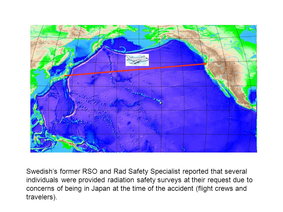 Swedish's former RSO and Rad Safety Specialist reported that several individuals were provided radiation safety surveys at their request due to concerns of being in Japan at the time of the accident (flight crews and travelers).