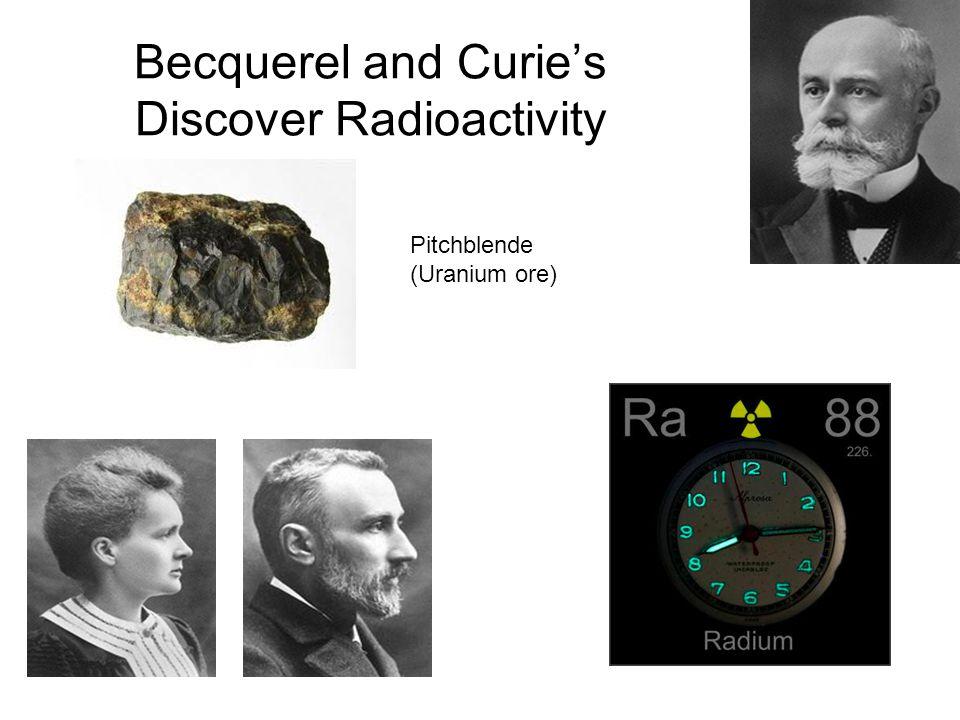 Becquerel and Curie's Discover Radioactivity Pitchblende (Uranium ore)