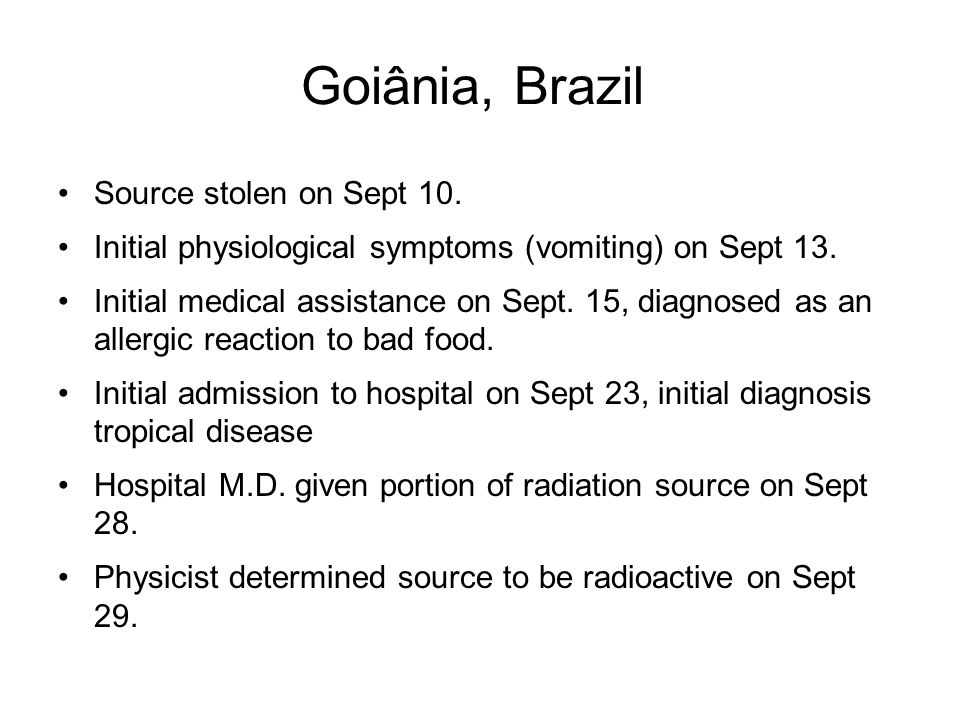 Source stolen on Sept 10.Initial physiological symptoms (vomiting) on Sept 13.