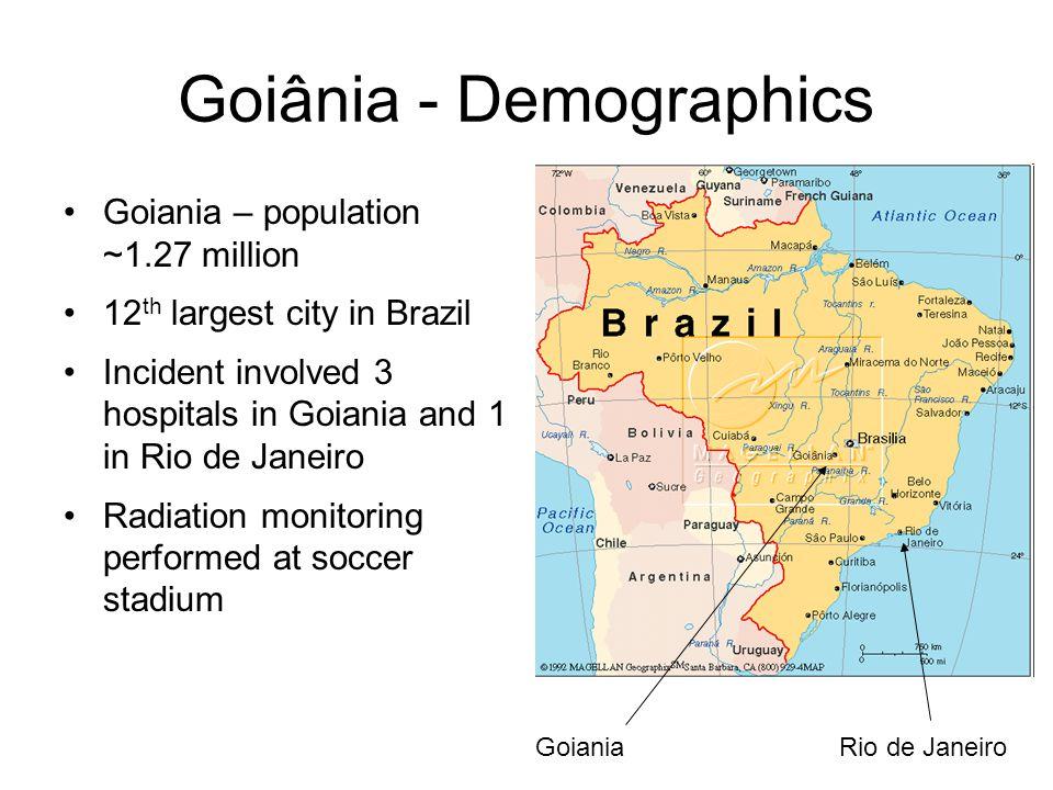 Goiania – population ~1.27 million 12 th largest city in Brazil Incident involved 3 hospitals in Goiania and 1 in Rio de Janeiro Radiation monitoring performed at soccer stadium Goiânia - Demographics GoianiaRio de Janeiro