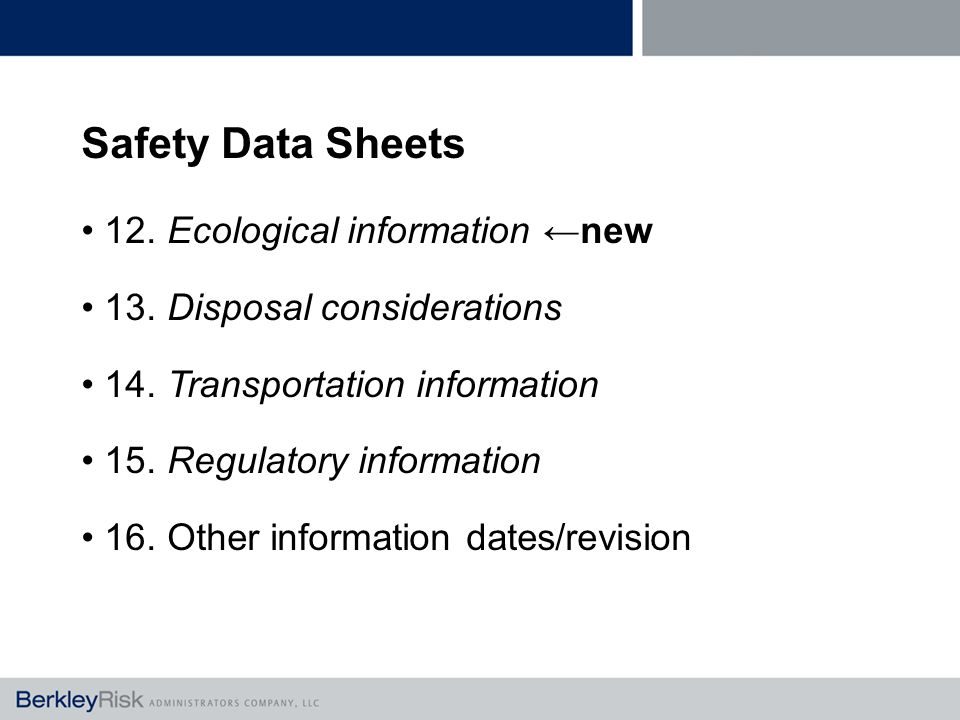 Safety Data Sheets 12. Ecological information ←new 13.