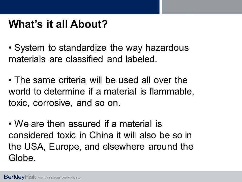 What's it all About. System to standardize the way hazardous materials are classified and labeled.