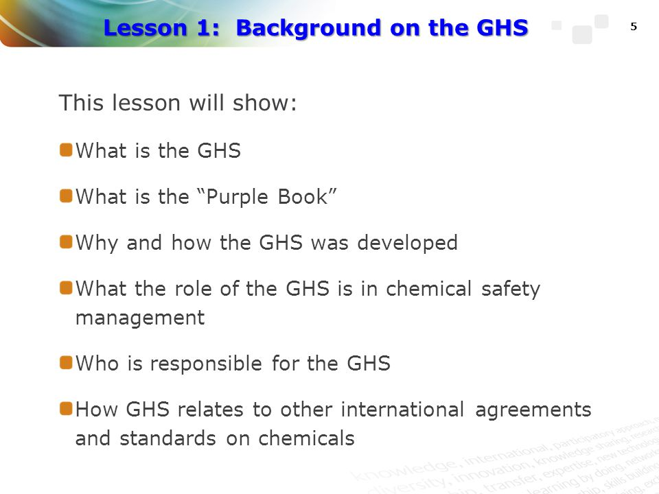 Benefits of the GHS Provides global benefits, as well as benefits to governments, industry, and chemical users (workers and consumers): Enhances the protection of human health and the environment through the provision of harmonised chemical safety and health information Reduces the need for duplicative testing of chemicals Provides the informational infrastructure for chemical safety and health management programs Increases efficiencies; reduces costs of compliance; lowers health care costs, etc.