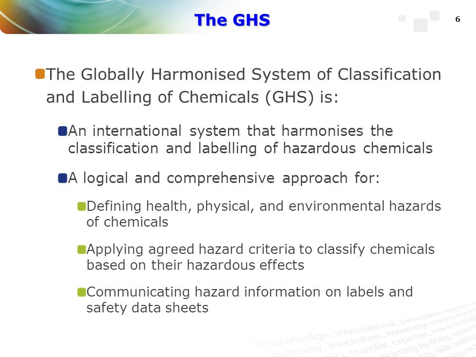 The Purple Book United Nations (UN) publication of the GHS Outlines the provisions in four parts: Introduction (scope, definitions, hazard communication) Classification criteria for physical hazards Classification criteria for health hazards Classification of environmental hazards 7