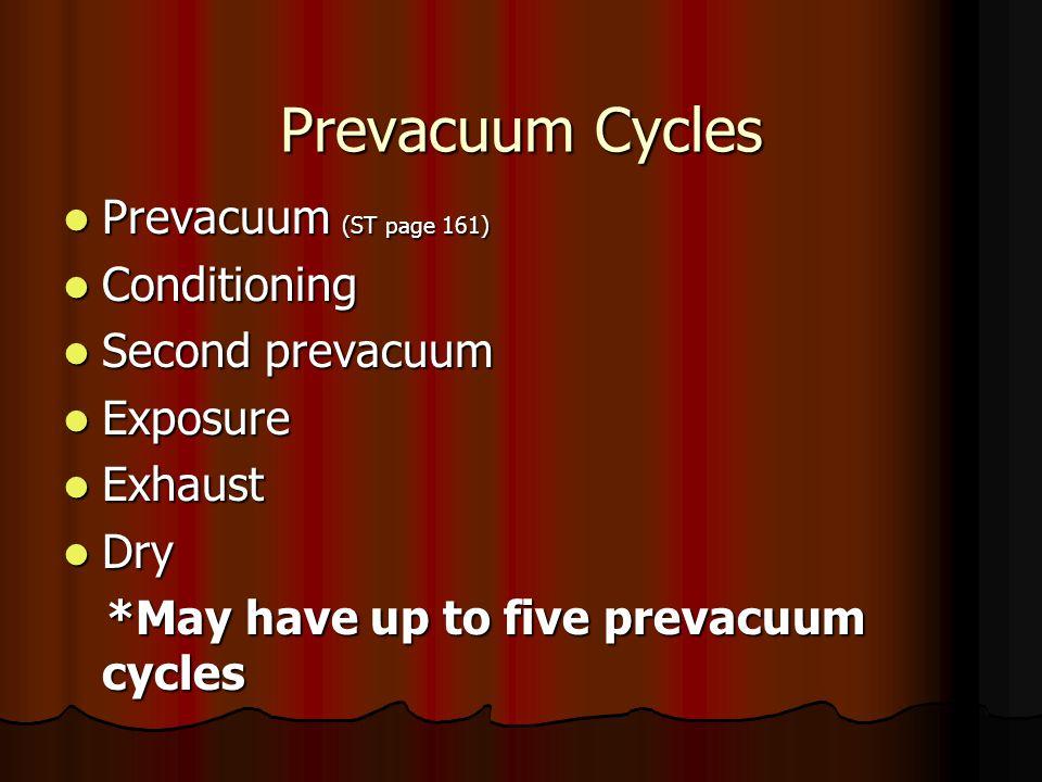 Prevacuum Cycles Prevacuum (ST page 161) Prevacuum (ST page 161) Conditioning Conditioning Second prevacuum Second prevacuum Exposure Exposure Exhaust