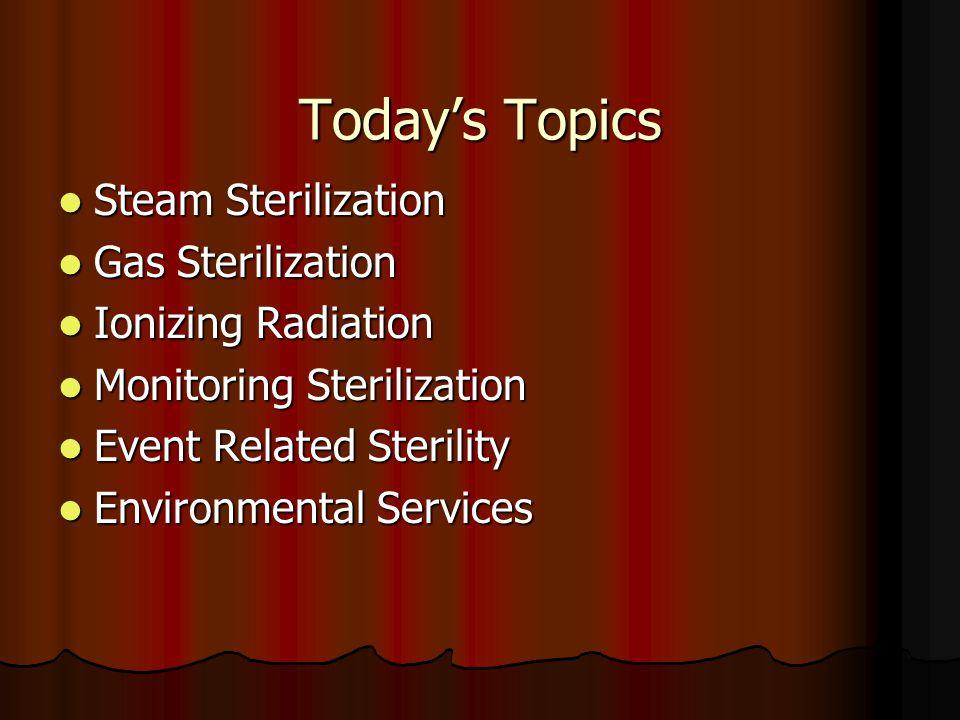 Today's Topics Steam Sterilization Steam Sterilization Gas Sterilization Gas Sterilization Ionizing Radiation Ionizing Radiation Monitoring Sterilizat