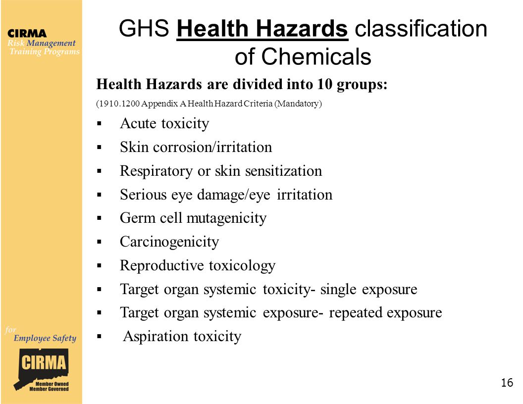 GHS Health Hazards classification of Chemicals 16 Health Hazards are divided into 10 groups: (1910.1200 Appendix A Health Hazard Criteria (Mandatory)  Acute toxicity  Skin corrosion/irritation  Respiratory or skin sensitization  Serious eye damage/eye irritation  Germ cell mutagenicity  Carcinogenicity  Reproductive toxicology  Target organ systemic toxicity- single exposure  Target organ systemic exposure- repeated exposure  Aspiration toxicity