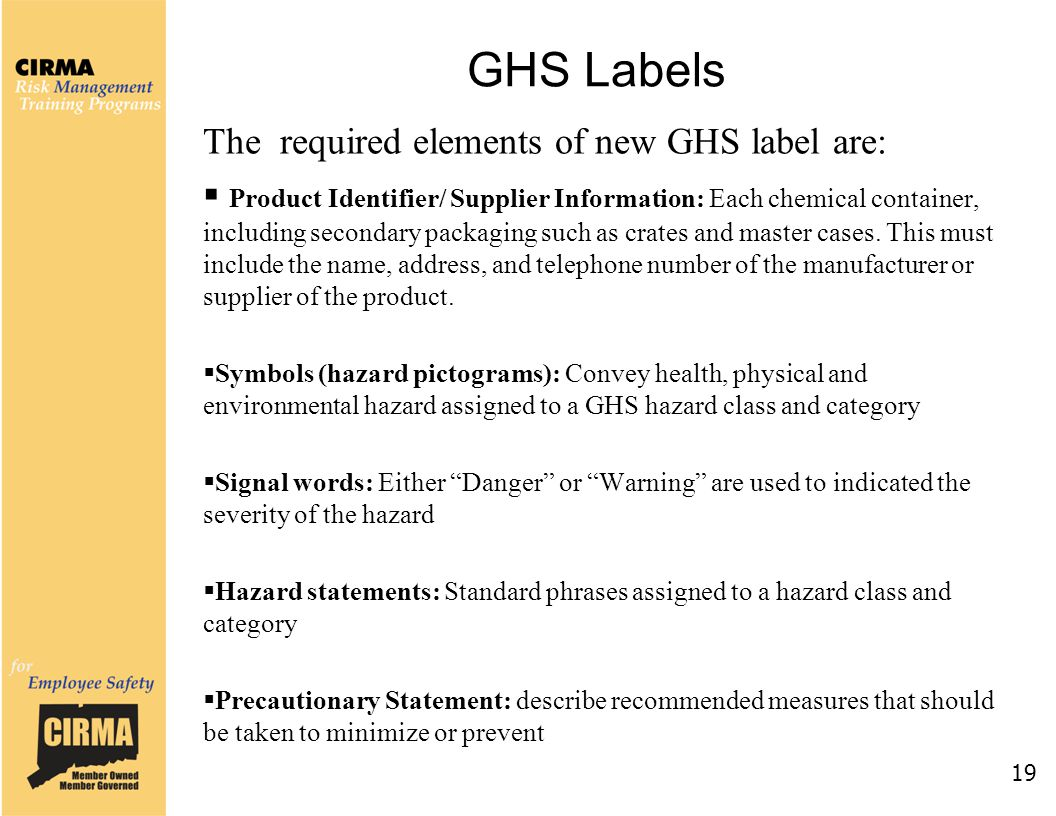 GHS Labels The required elements of new GHS label are:  Product Identifier/ Supplier Information: Each chemical container, including secondary packag