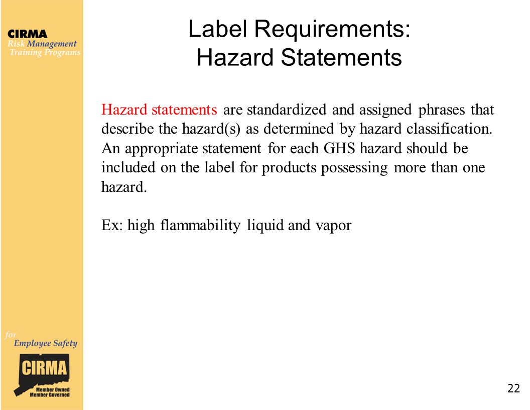 Label Requirements: Hazard Statements 22 Hazard statements are standardized and assigned phrases that describe the hazard(s) as determined by hazard classification.