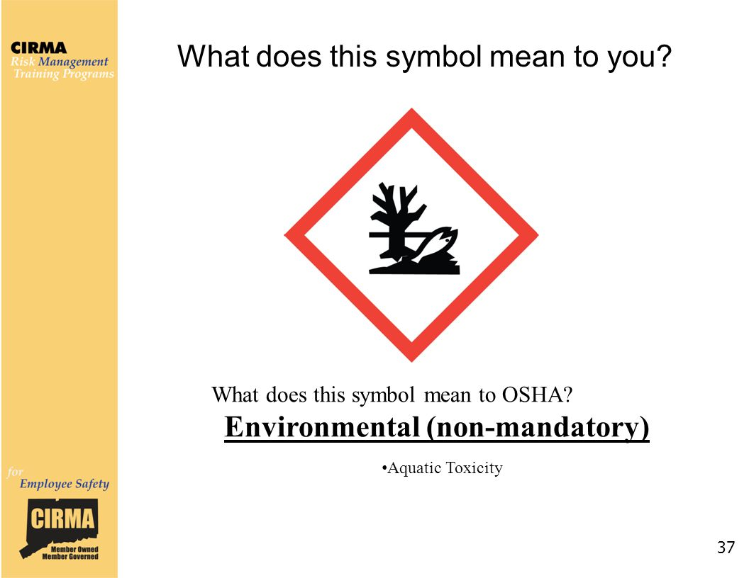 37 What does this symbol mean to OSHA? Environmental (non-mandatory) Aquatic Toxicity What does this symbol mean to you?