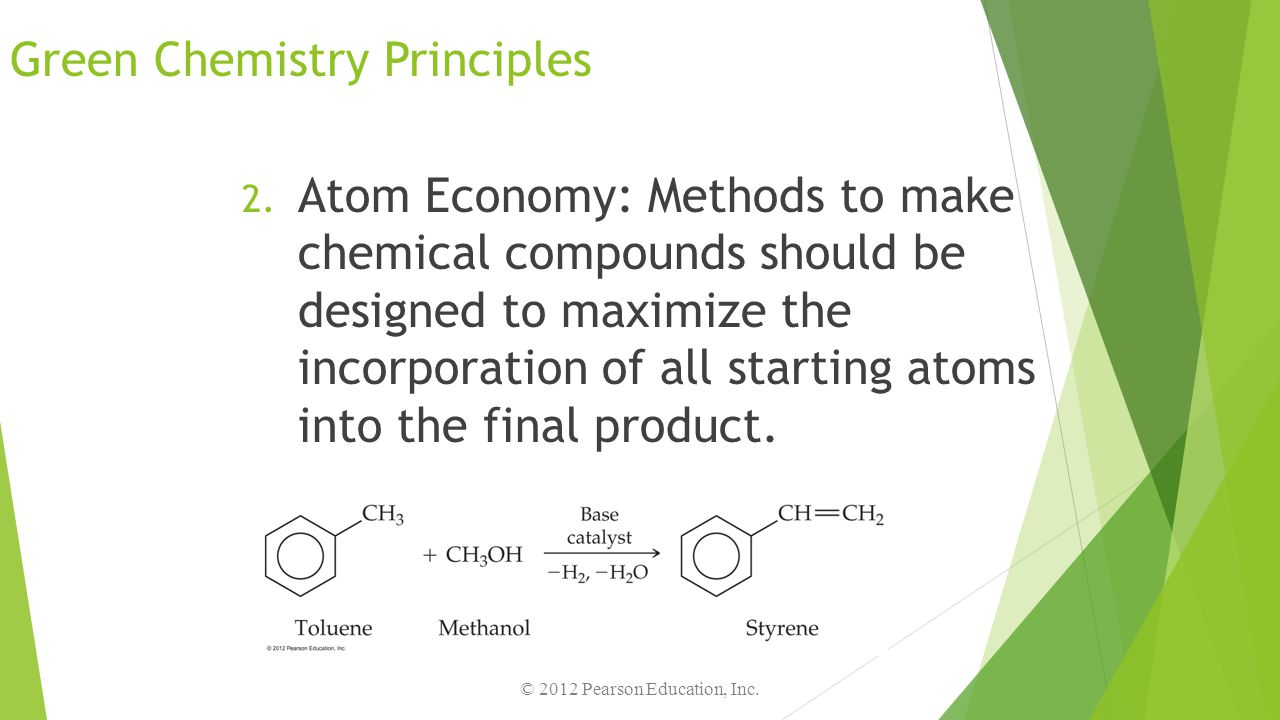 Green Chemistry Principles 2. Atom Economy: Methods to make chemical compounds should be designed to maximize the incorporation of all starting atoms