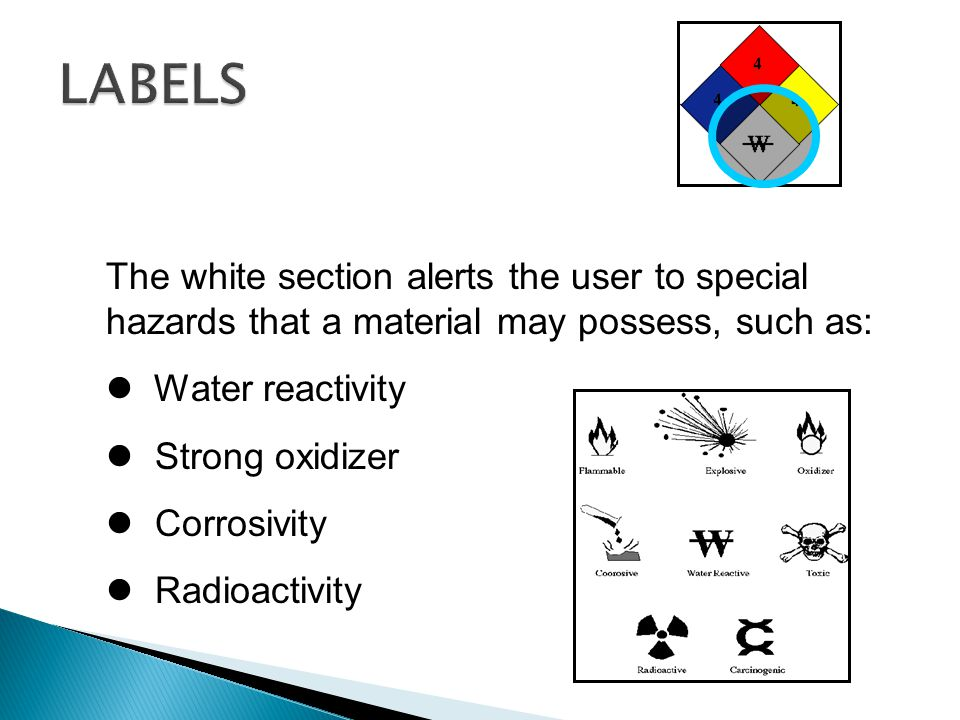 The white section alerts the user to special hazards that a material may possess, such as: Water reactivity Strong oxidizer Corrosivity Radioactivity