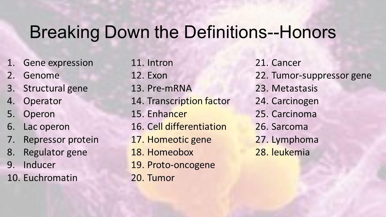 Breaking Down The Definitions—Regular Bio 1.Cancer 2.Mutation 3.Operon 4.Operator 5.Differentiation 6.Hox gene 7.Genome