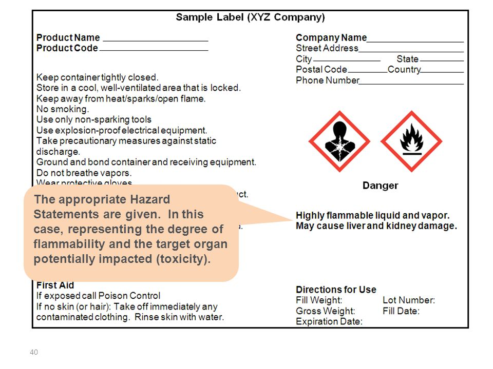 The appropriate Hazard Statements are given. In this case, representing the degree of flammability and the target organ potentially impacted (toxicity