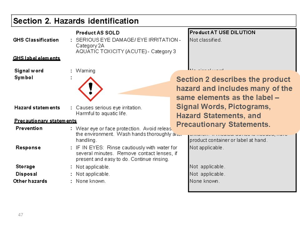 47 Section 2 describes the product hazard and includes many of the same elements as the label – Signal Words, Pictograms, Hazard Statements, and Preca