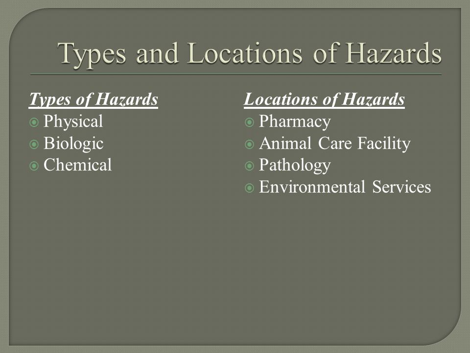Types of Hazards  Physical  Biologic  Chemical Locations of Hazards  Pharmacy  Animal Care Facility  Pathology  Environmental Services