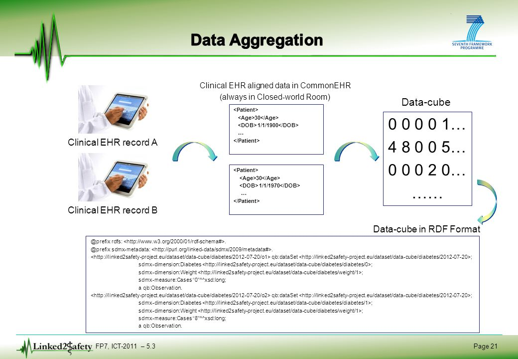 FP7, ICT-2011 – 5.3 Page 21 Clinical EHR record A 0 0 0 0 1… 4 8 0 0 5… 0 0 0 2 0… …… @prefix rdfs:.
