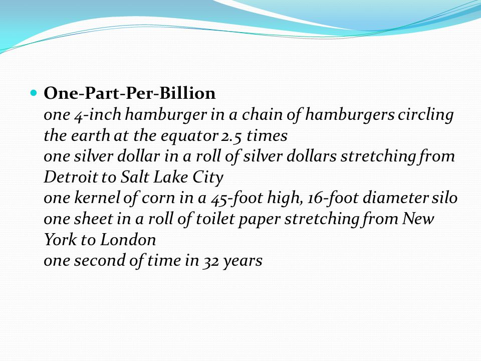 One-Part-Per-Billion one 4-inch hamburger in a chain of hamburgers circling the earth at the equator 2.5 times one silver dollar in a roll of silver dollars stretching from Detroit to Salt Lake City one kernel of corn in a 45-foot high, 16-foot diameter silo one sheet in a roll of toilet paper stretching from New York to London one second of time in 32 years