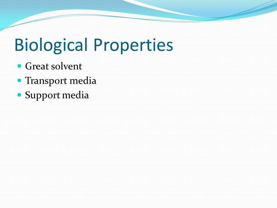 Biological Properties Great solvent Transport media Support media