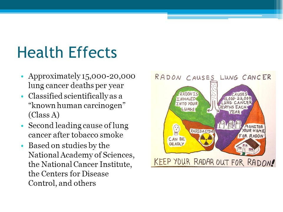 """Health Effects Approximately 15,000-20,000 lung cancer deaths per year Classified scientifically as a """"known human carcinogen"""" (Class A) Second leadin"""