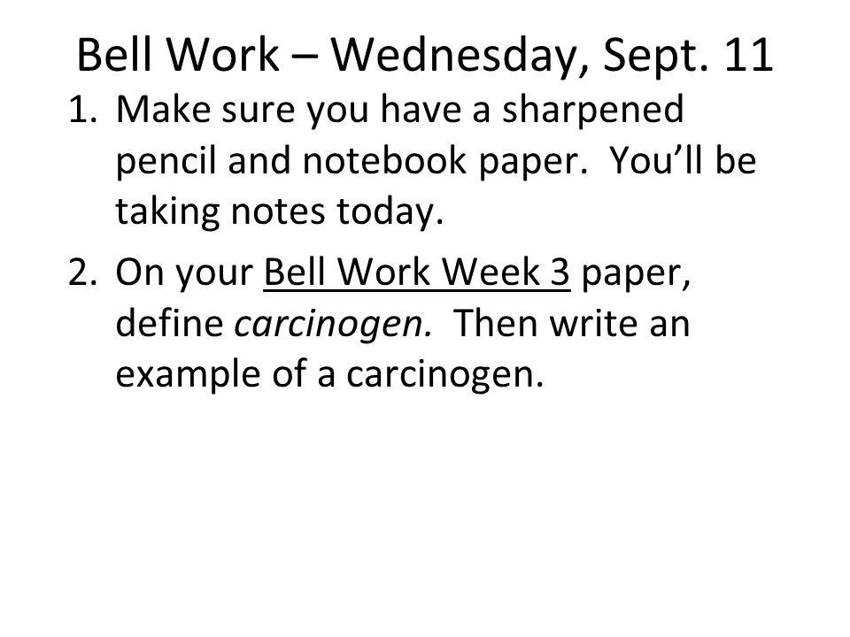 Bell Work – Thursday, Sept.
