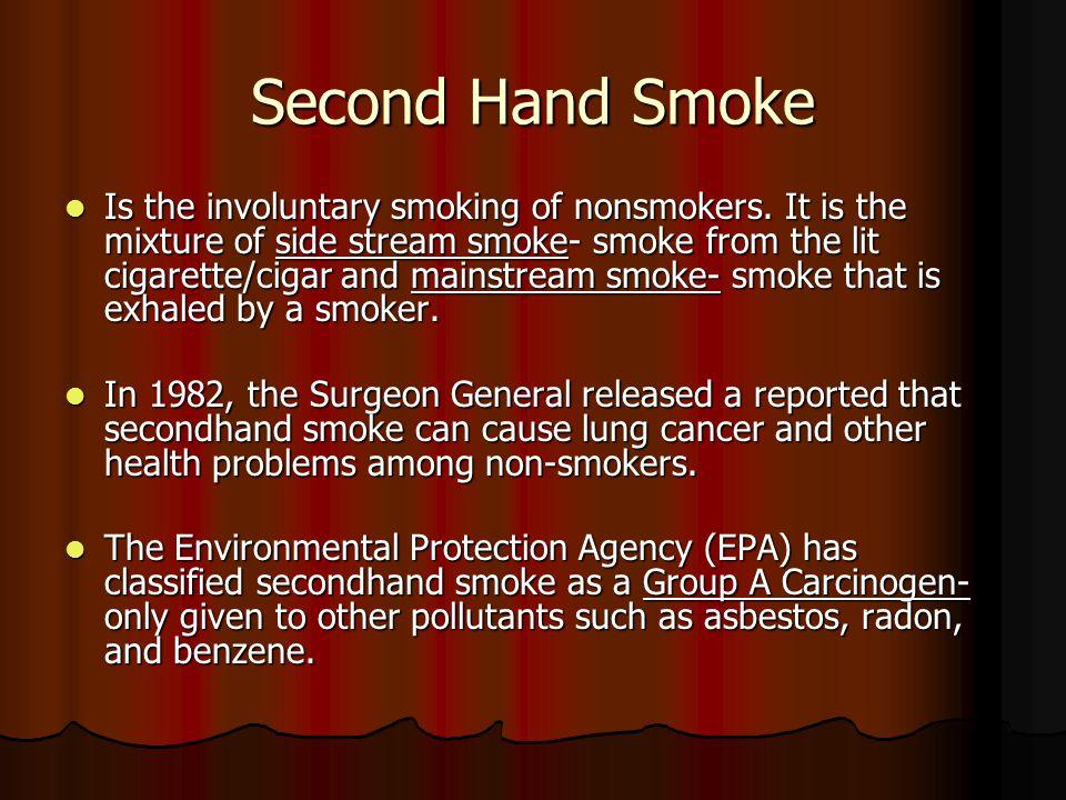 Second Hand Smoke Is the involuntary smoking of nonsmokers.