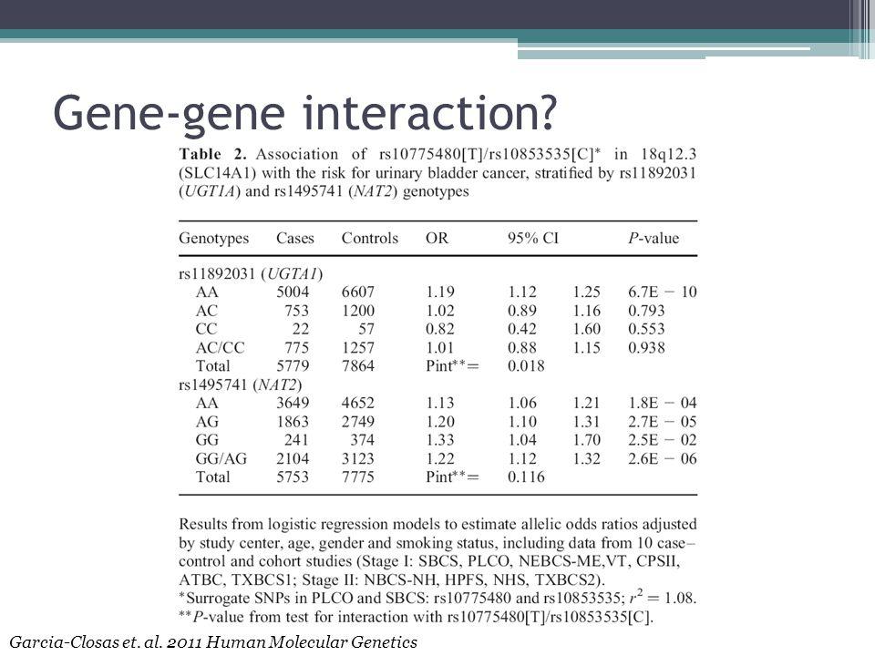 Gene-gene interaction Garcia-Closas et. al. 2011 Human Molecular Genetics