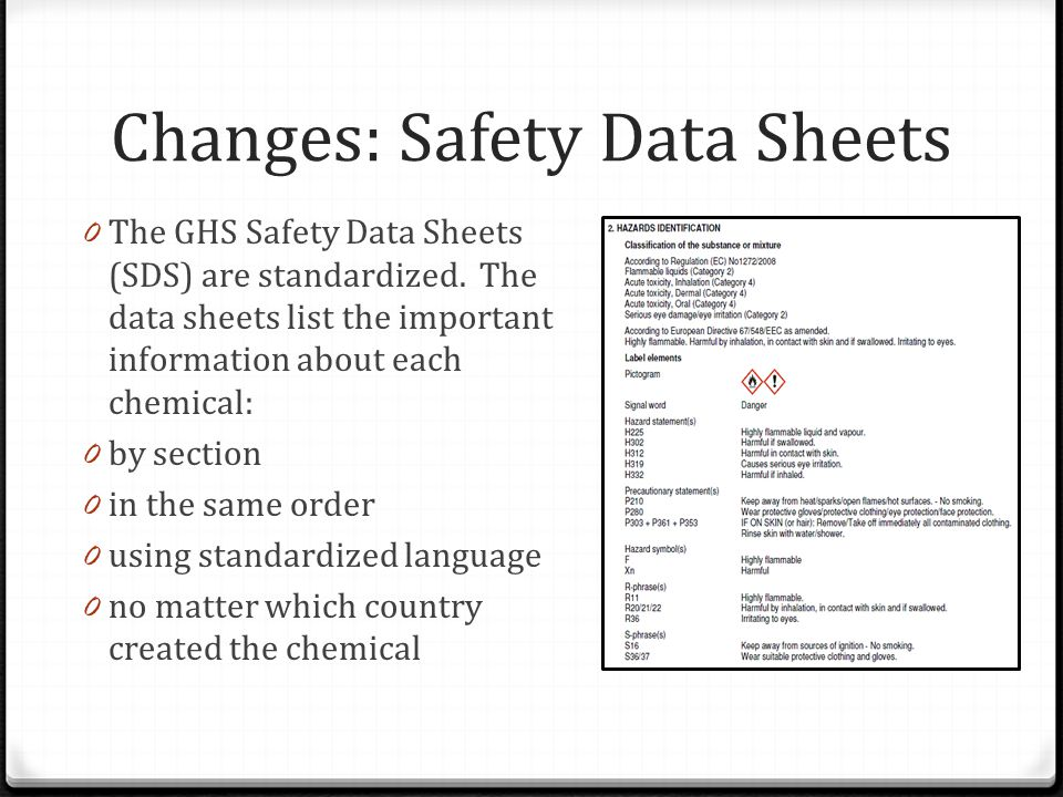 Changes: Safety Data Sheets 0 The GHS Safety Data Sheets (SDS) are standardized.