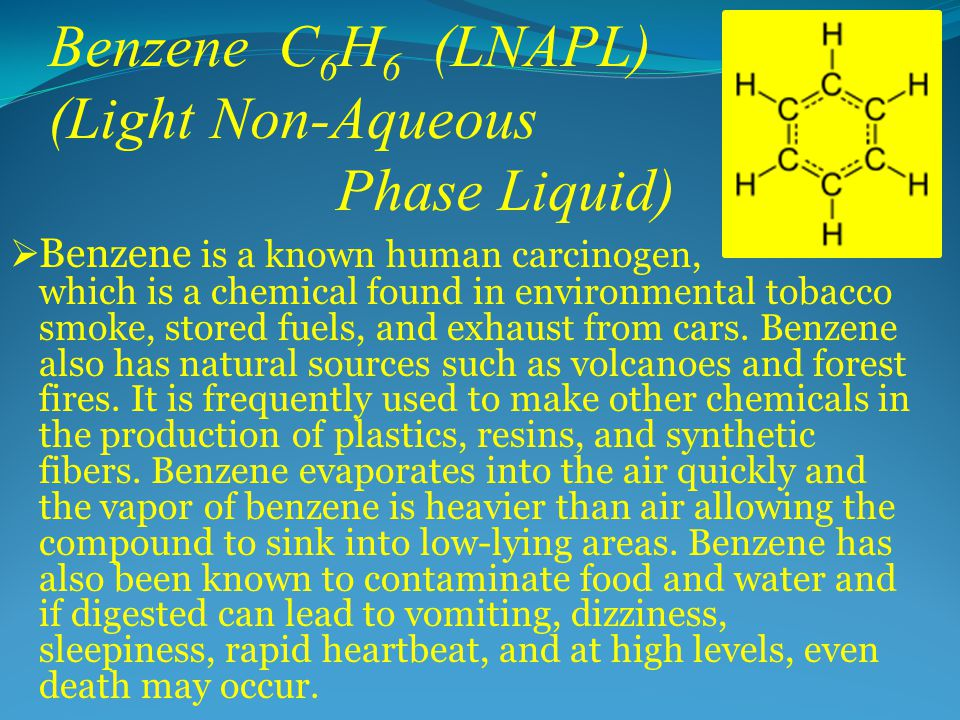Benzene C 6 H 6 (LNAPL) (Light Non-Aqueous Phase Liquid)  Benzene is a known human carcinogen, which is a chemical found in environmental tobacco smoke, stored fuels, and exhaust from cars.