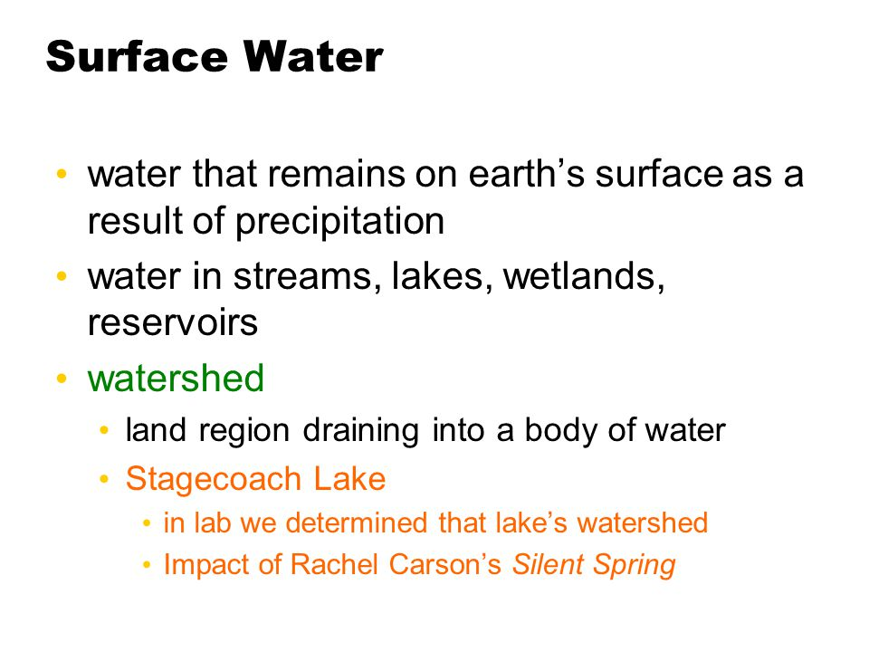 Surface Water water that remains on earth's surface as a result of precipitation water in streams, lakes, wetlands, reservoirs watershed land region d