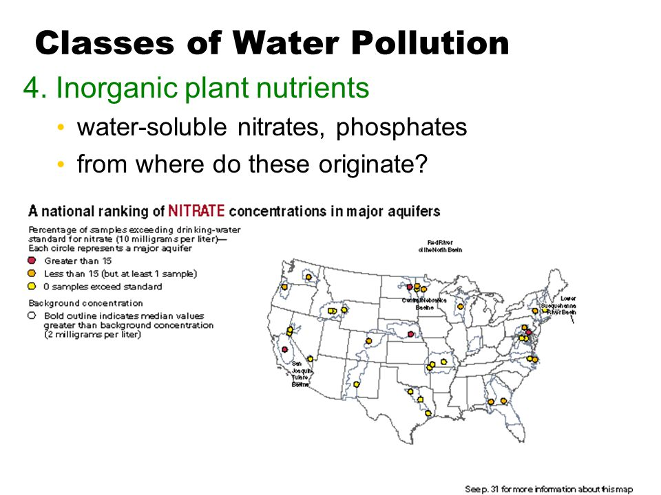 Classes of Water Pollution 4. Inorganic plant nutrients water-soluble nitrates, phosphates from where do these originate?