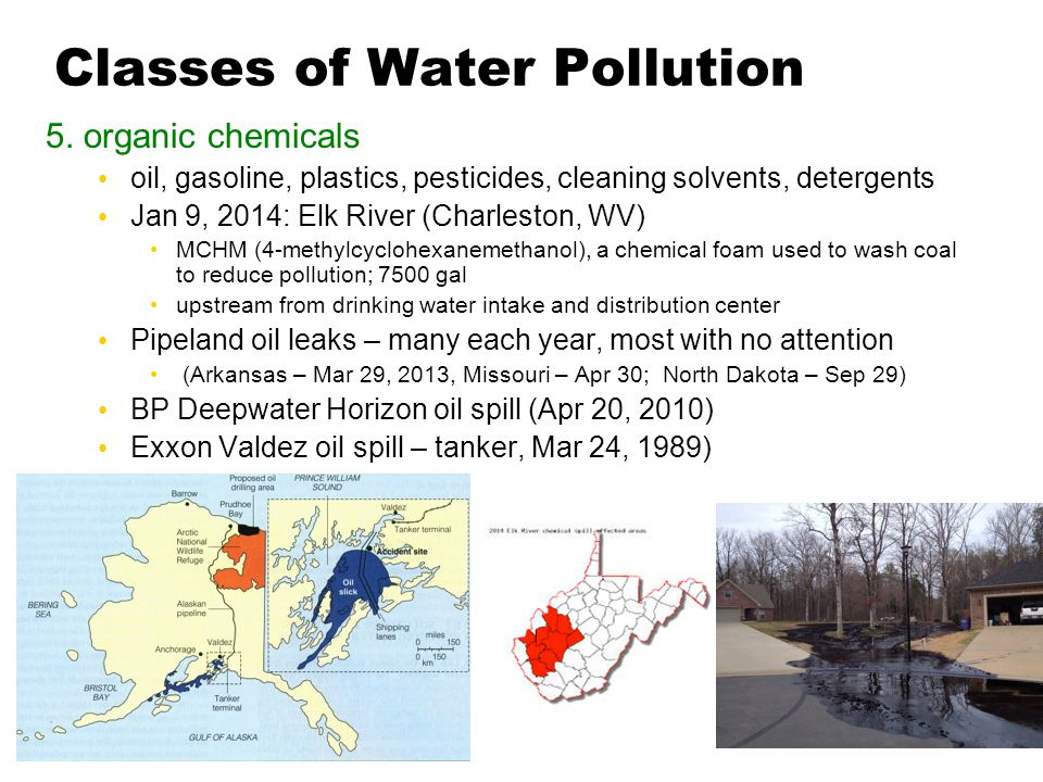 Classes of Water Pollution 5. organic chemicals oil, gasoline, plastics, pesticides, cleaning solvents, detergents Jan 9, 2014: Elk River (Charleston,