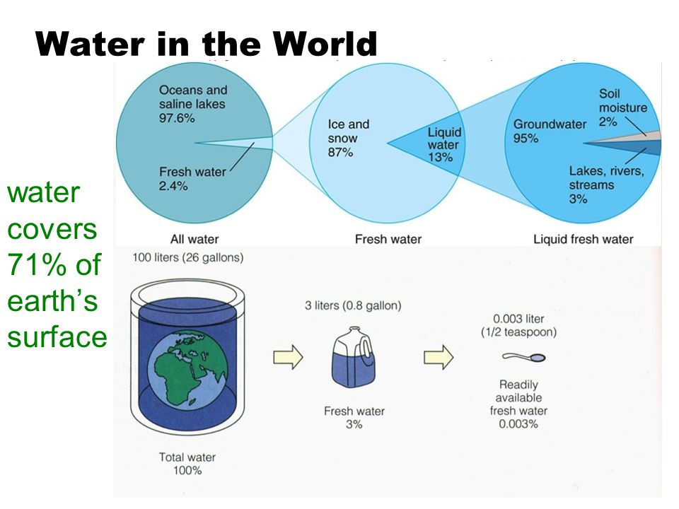 Water in the World water covers 71% of earth's surface