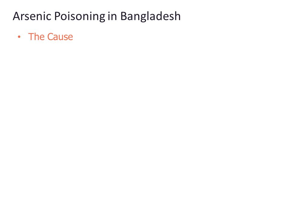 Arsenic Poisoning in Bangladesh The Cause