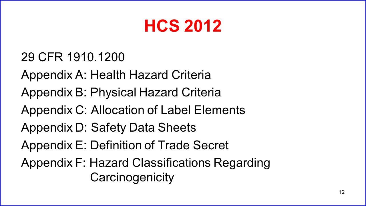 HCS 2012 29 CFR 1910.1200 Appendix A: Health Hazard Criteria Appendix B: Physical Hazard Criteria Appendix C: Allocation of Label Elements Appendix D:
