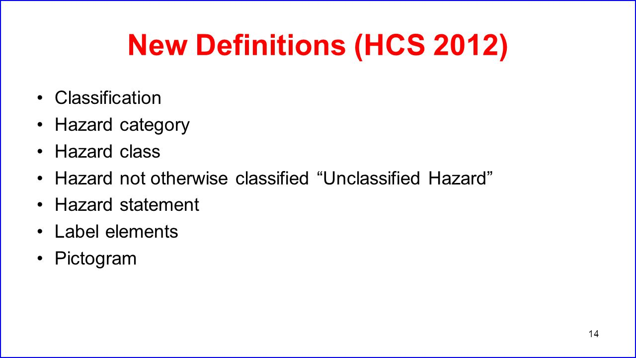 "New Definitions (HCS 2012) Classification Hazard category Hazard class Hazard not otherwise classified ""Unclassified Hazard"" Hazard statement Label el"