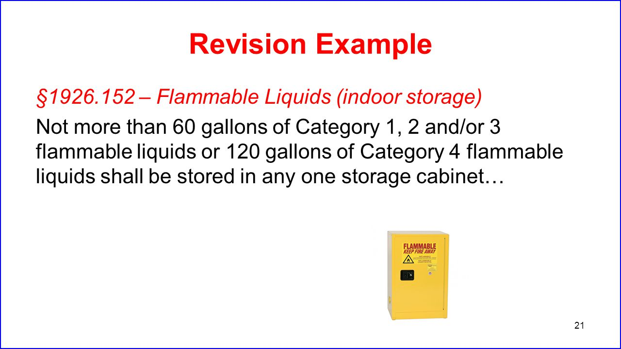 Revision Example §1926.152 – Flammable Liquids (indoor storage) Not more than 60 gallons of Category 1, 2 and/or 3 flammable liquids or 120 gallons of