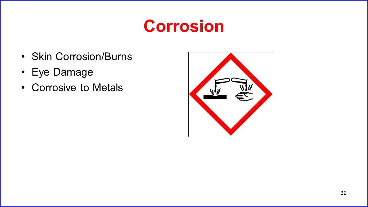 Corrosion Skin Corrosion/Burns Eye Damage Corrosive to Metals 39
