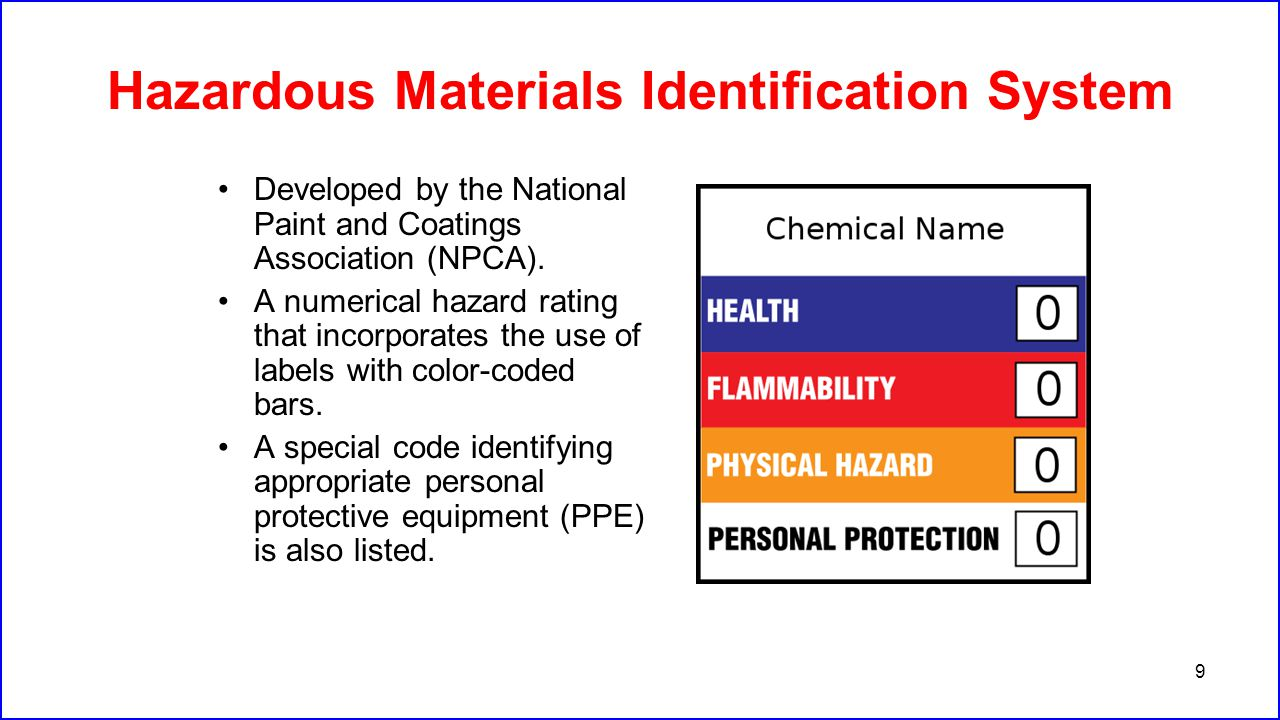 9 Hazardous Materials Identification System Developed by the National Paint and Coatings Association (NPCA). A numerical hazard rating that incorporat