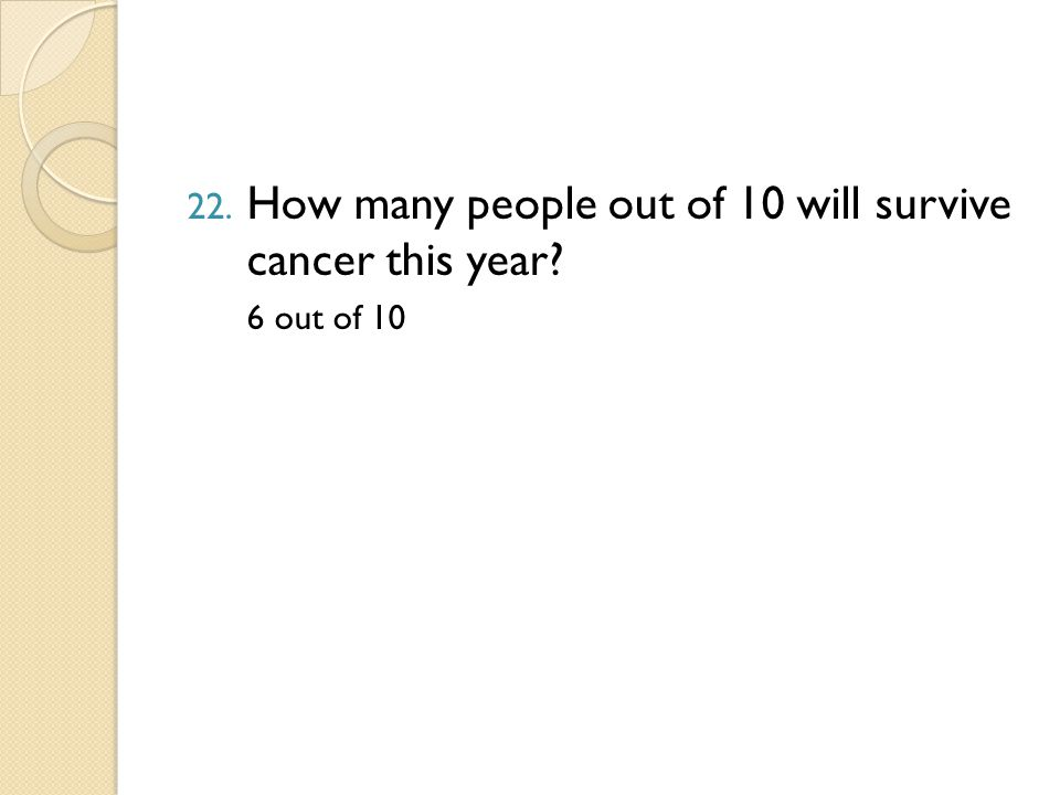22. How many people out of 10 will survive cancer this year 6 out of 10