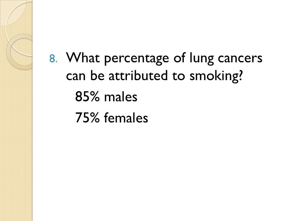 8. What percentage of lung cancers can be attributed to smoking 85% males 75% females