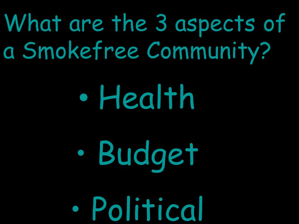 What are the 3 aspects of a Smokefree Community? Health Budget Political