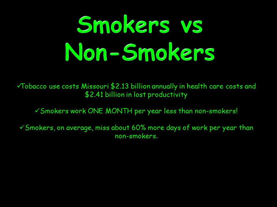 Tobacco use costs Missouri $2.13 billion annually in health care costs and $2.41 billion in lost productivity Smokers work ONE MONTH per year less tha