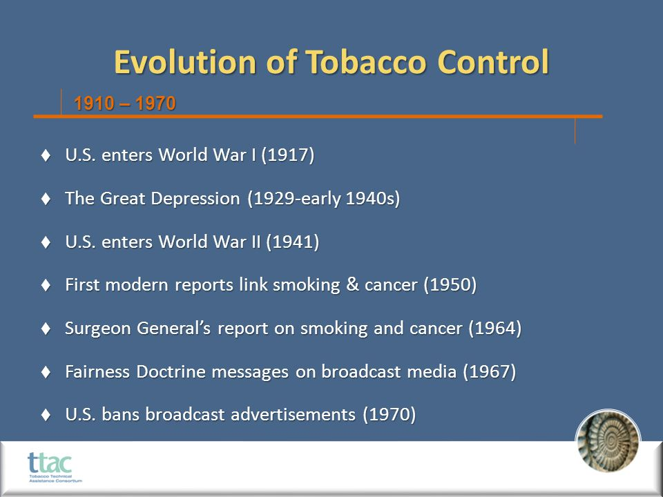 Evolution of Tobacco Control  U.S. enters World War I (1917)  The Great Depression (1929-early 1940s)  U.S. enters World War II (1941)  First mode