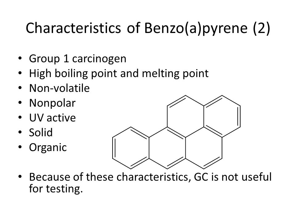 Characteristics of Benzo(a)pyrene (2) Group 1 carcinogen High boiling point and melting point Non-volatile Nonpolar UV active Solid Organic Because of these characteristics, GC is not useful for testing.