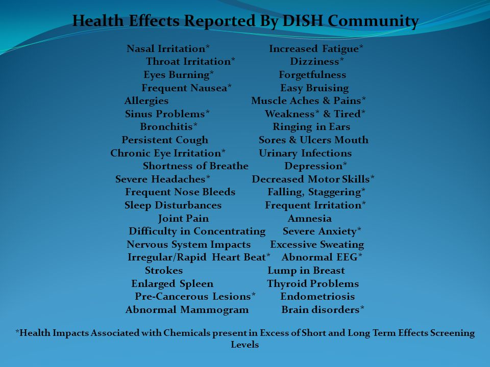 Health Effects Reported By DISH Community Nasal Irritation* Increased Fatigue* Throat Irritation* Dizziness* Eyes Burning* Forgetfulness Frequent Naus