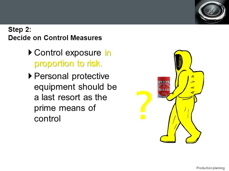 Production planning in proportion to risk.  Control exposure in proportion to risk.